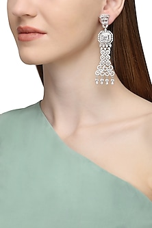 Silver Plated Long American Diamond Earrings by Rose Jewellery Collection