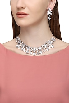 Silver Plated Zircons and White Saphire Necklace Set by Rose Jewellery Collection