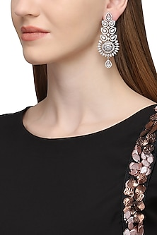 Silver Plated Zircons and Leaf Motif Long Earrings by Rose Jewellery Collection
