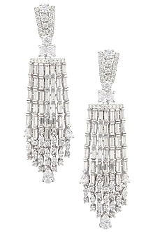 Silver Plated American Diamond Tassel Earrings by Rose Jewellery Collection