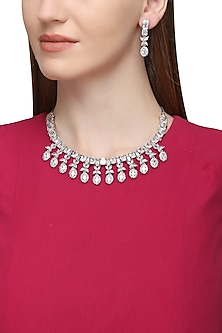 Silver Plated Zircons and White Semi Precious Stone Necklace Set by Rose Jewellery Collection