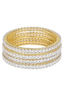 Set Of 4 Gold Plated Zircons Thin Bangles by Rose Jewellery Collection
