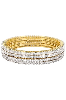 Set Of 4 Gold Plated White Saphires Bangles by Rose Jewellery Collection