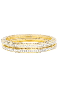 Set Of 2 Gold Plated Zircons Bangles by Rose Jewellery Collection