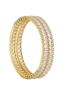 Set Of 2 Micro Gold Finish Semi Precious Stone Bangles by Rose Jewellery Collection
