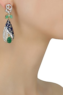 Micro Gold Plated Zircons and Emerald Stone Earrings by Rose Jewellery Collection