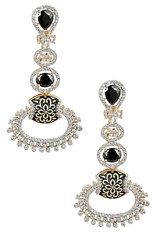 Micro Gold Plated Zircons Black Enamel Long Earrings by Rose Jewellery Collection