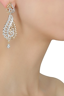 Micro Gold Plated Zircons and Champagne Long Earrings by Rose Jewellery Collection