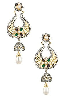 Micro Gold Plated Zircons and Pearl Earrings by Rose Jewellery Collection