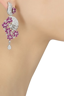 Micro Silver Plated Zircons and Ruby Stone Flower Earrings by Rose Jewellery Collection