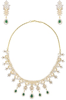 Dual Finish Emerald and White Sapphire Necklace Set by Rose Jewellery Collection