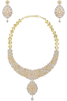Dual Finish Zircons and Yellow Sapphire Necklace Set by Rose Jewellery Collection