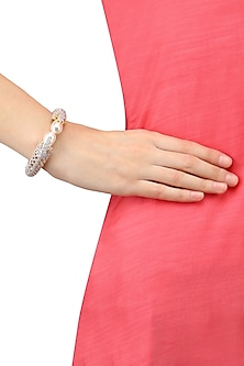 Micro Gold Plated Zircon and Pearl Open Bracelet by Rose Jewellery Collection