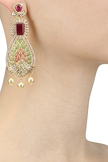 Gold Plated Micro Polish Leaves Pattern Earrings by Rose Jewellery Collection