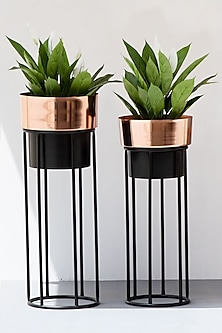 Hand Finished Rose Gold & Black Iron Planter (Set of 2) by The Decor Remedy