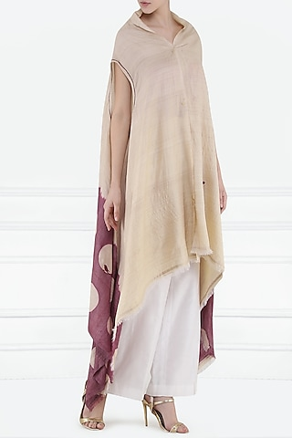 Beige Dyed and Embroidered Overlayer by Rouka