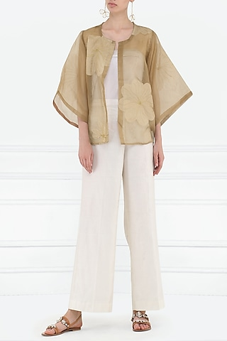 Ochre Appliqued and Embroidered Overlayer by Rouka
