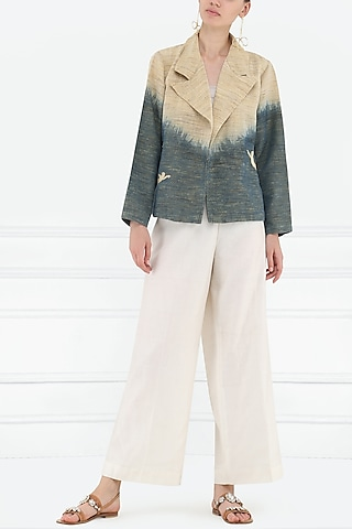 Beige Dyed and Embroidered Motifs Jacket by Rouka