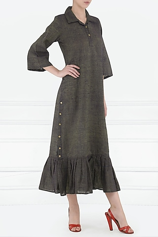 Ash Side Slit Shirt Dress by Rouka