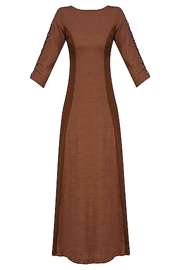 Brick Red Flared Long Tunic by Rouka