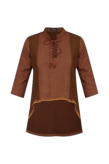 Brick Red High Low Tie Up Tunic by Rouka