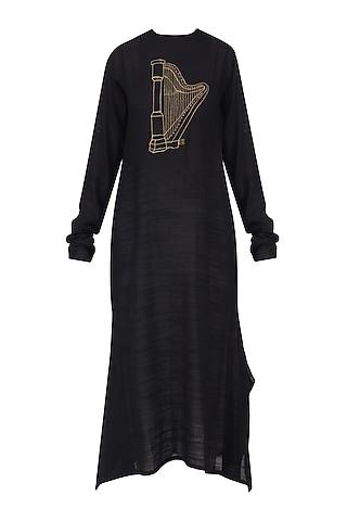 Black Harp Motif Embroidered Tunic Dress by Rouka