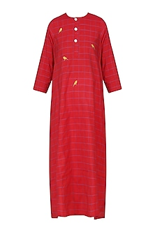 Red Bird Motif Embroidered Tunic Dress by Rouka