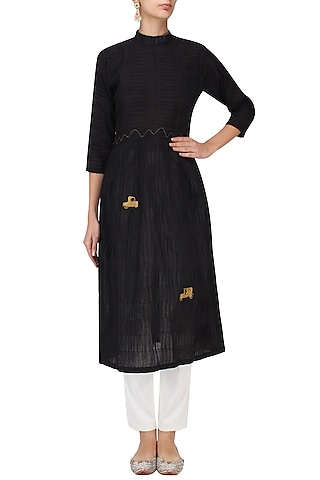 Black Vintage Car Motif Embroidered Tunic Dress by Rouka