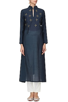 Navy Blue Cross Motif Embroidered Tunic Dress by Rouka