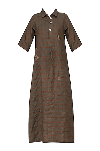 Grey Bell Motif Embroidered Tunic Dress by Rouka