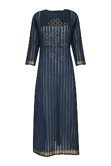 Navy Blue Star Motif Embroidered Tunic Dress by Rouka