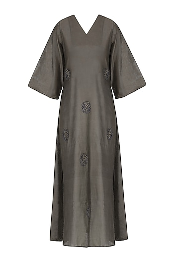 Grey Polka Dot Motif Embroidered Tunic Dress by Rouka