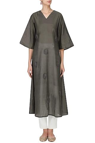 Grey Polka Dot Motif Embroidered Tunic Dress by Rouka