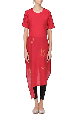 Red Music Notes Motif Embroidered Tunic Dress by Rouka