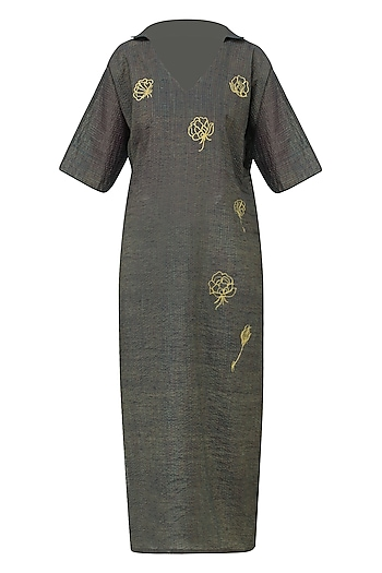 Navy Graphite Rose Motif Embroidered Kimono Tunic Dress by Rouka