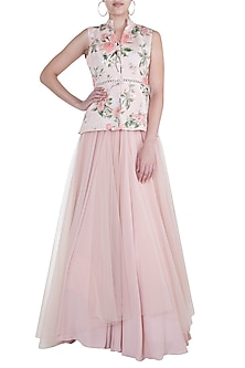 Peach Embroidered Printed Skirt With Peplum Blouse by Rozina