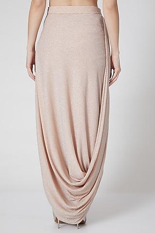 Blush Pink Draped Shimmer Skirt by Rozina