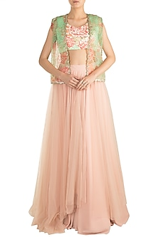 Peach Embroidered Printed Jacket Lehenga Set by Rozina