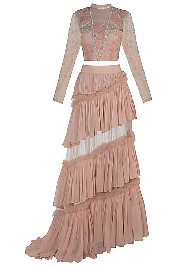Peach Embroidered Blouse with Layered Skirt by Rozina