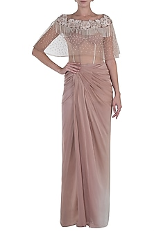 Beige Pleated Gown with Embroidered Cape by Rozina