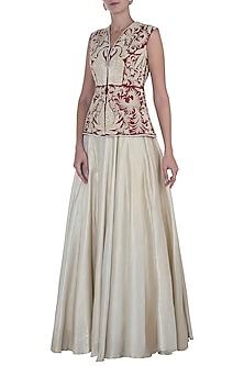 Maroon Embroidered Peplum with Gold Lehenga Skirt by Rozina