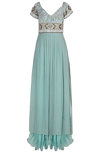 Serene Blue Embroidered Gown by Rozina