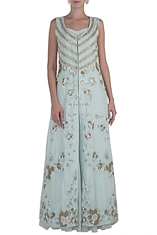 Serene Blue Gown with Embroidered Jacket by Rozina