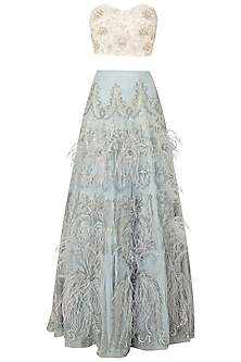 Off White Embroidered Bustier with Sky Blue Lehenga Skirt by Rozina