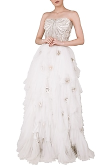 Off White Embroidered Corset with Lehenga Skirt by Rozina