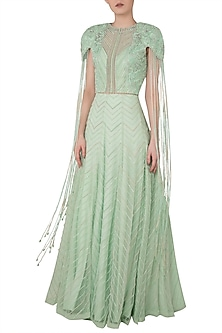 Pista Green Embroidered Blouse with Lehenga Skirt by Rozina