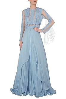Blue Embroidered Layered Gown by Rozina