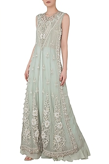 Light Grey Embroidered Kurta with Inner by Rozina