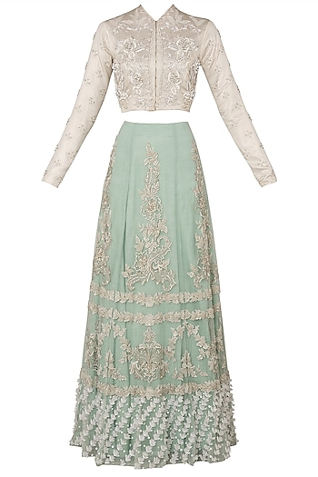 Off White Embroidered Blouse with Pista Green Lehenga Skirt by Rozina