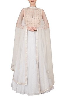 Off White and Pink Embroidered Lehenga Set by Rozina